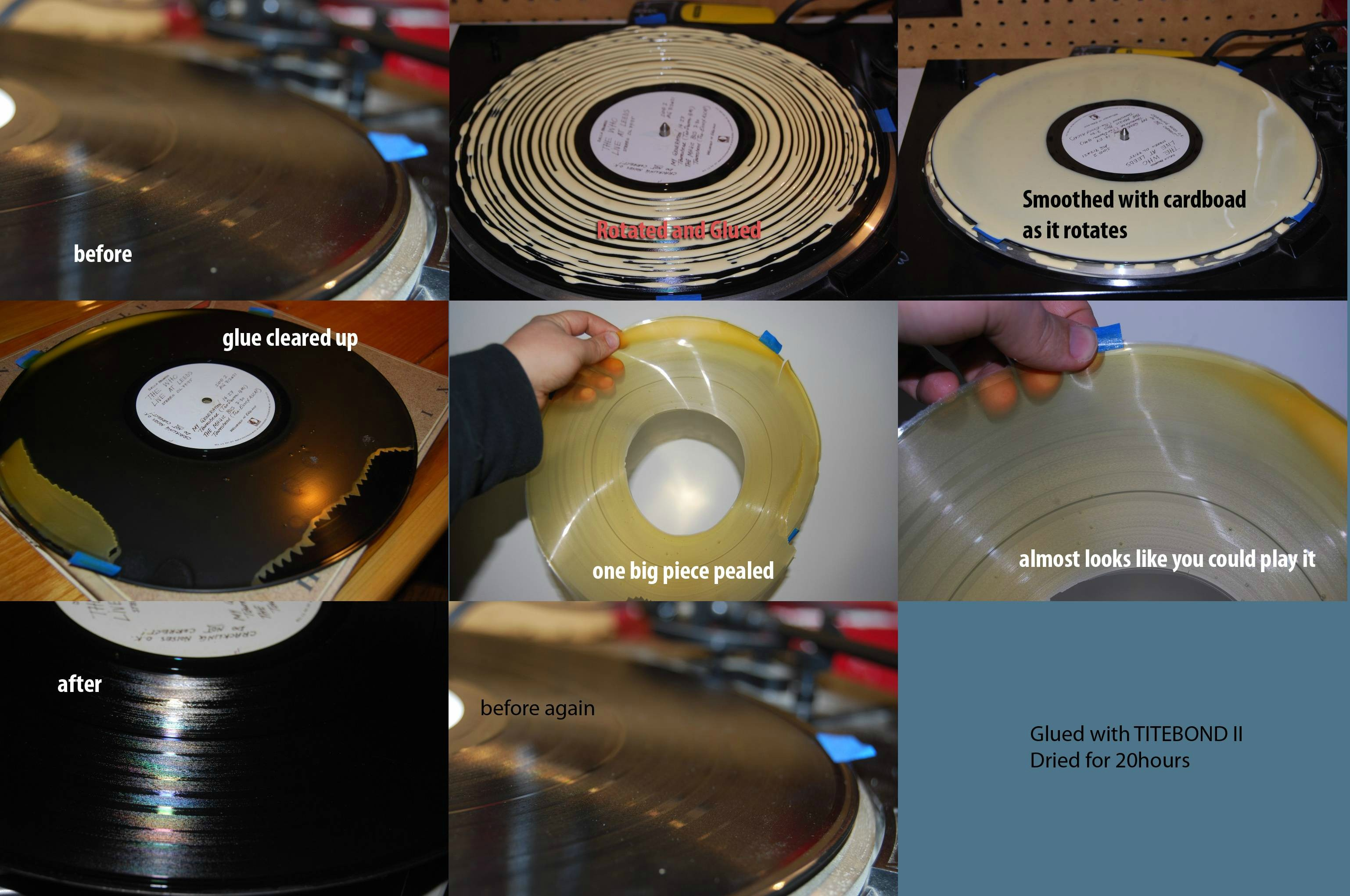 cleaning records with wood glue